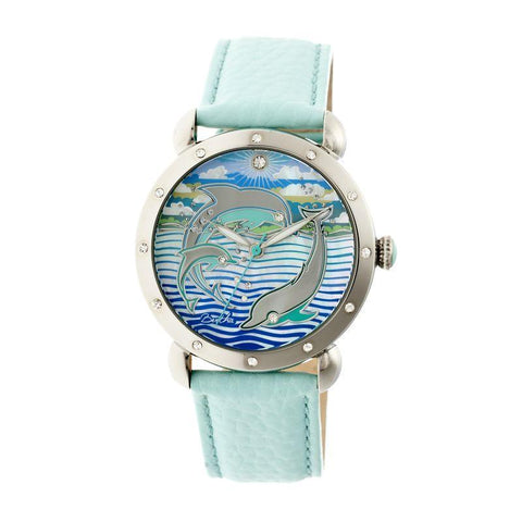 Bertha Estella MOP Leather-Band Ladies Watch - Silver/Turquoise BTHBR5101