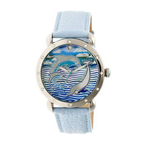 Bertha Estella MOP Leather-Band Ladies Watch - Silver/Powder Blue BTHBR5102