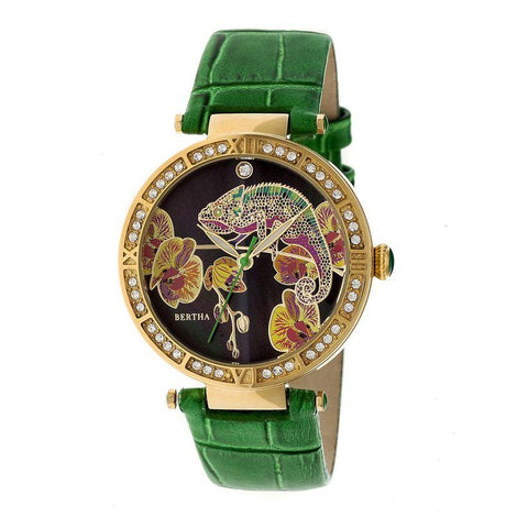 Bertha Camilla Mother-Of-Pearl Leather-Band Watch - Green BTHBR6206