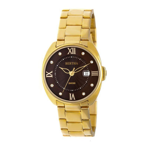 Bertha Amelia Bracelet Watch w/Date - Gold BTHBR6302