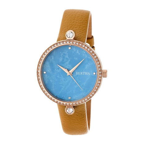 Bertha Frances Marble Dial Leather-Band Watch - Camel/Cerulean BTHBR6405