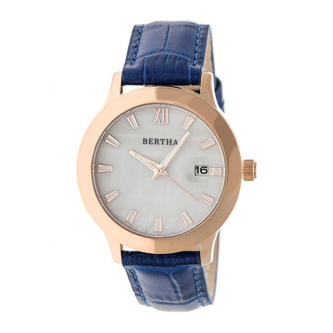 Bertha Eden Mother-Of-Pearl Leather-Band Watch w/Date - Blue/Rose Gold BTHBR6506
