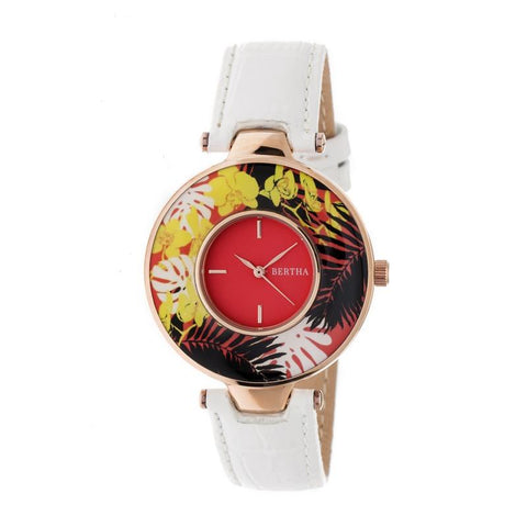 Bertha Elizabeth Unique Bezel Leather-Band Watch - Rose Gold/Coral BTHBR6606