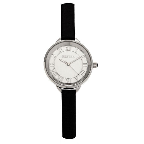 Bertha Madison Sunray Dial Leather-Band Watch - Black/Silver BTHBR6704