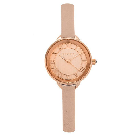 Bertha Madison Sunray Dial Leather-Band Watch - Light Pink/Rose Gold BTHBR6706