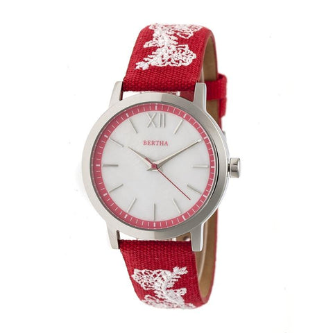 Bertha Penelope MOP Leather-Band Watch - Red  BTHBR7301