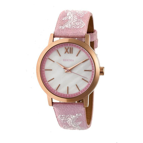 Bertha Penelope MOP Leather-Band Watch - Light Pink  BTHBR7305