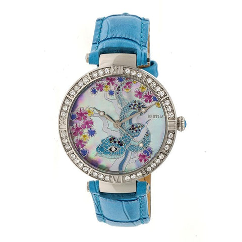 Bertha Mia Mother-Of-Pearl Leather-Band Watch - Blue  BTHBR7401