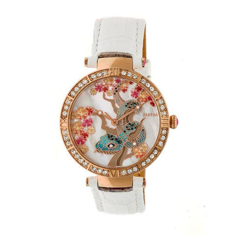 Bertha Mia Mother-Of-Pearl Leather-Band Watch - White BTHBR7405