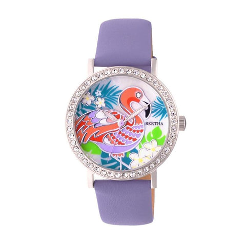 Bertha Luna Mother-Of-Pearl Leather-Band Watch - Lavender BTHBR7701