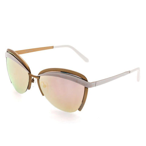 Bertha Aubree Polarized Sunglasses - White/Rose Gold BRSBR017W