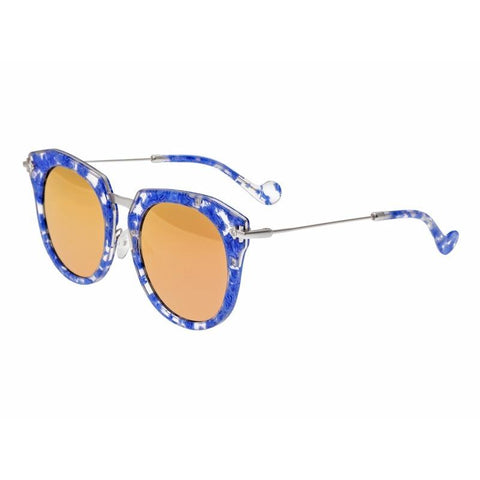 Bertha Aaliyah Polarized Sunglasses - Blue Tortoise/Rose Gold BRSBR023RG
