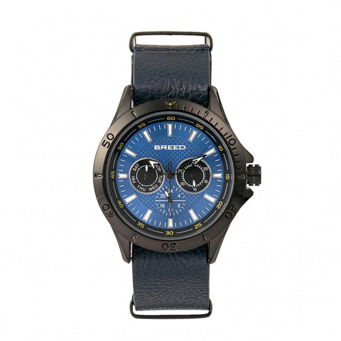 Breed Dixon Leather-Band Watch w/Day/Date - Blue BRD7306