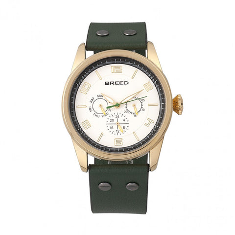 Breed Rio Leather-Band Watch w/Day/Date - Gold/Green BRD7404
