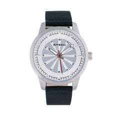Breed Renegade Leather-Band Watch - Silver/Black
