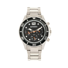 Breed Pegasus Bracelet Watch w/Day/Date- Black/Silver