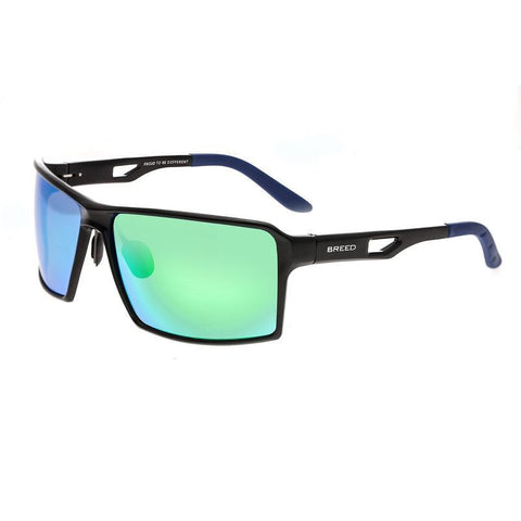 Breed Centaurus Aluminium Polarized Sunglasses - Black/Blue-Green BSG021BK
