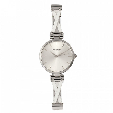 Bertha Amanda Criss-Cross Bracelet Watch - Silver BTHBR7601