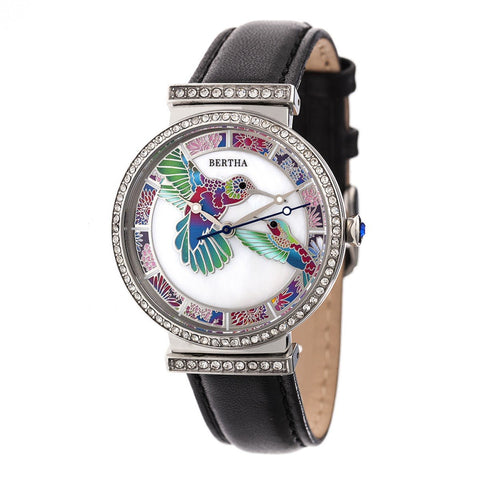 Bertha Emily Mother-Of-Pearl Leather-Band Watch - Silver/Black BTHBR7804