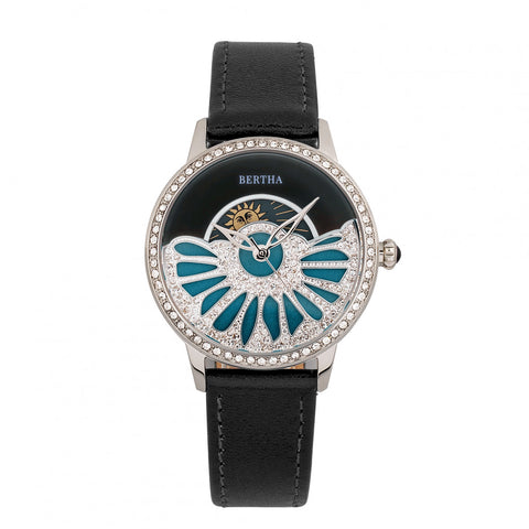Bertha Adaline Mother-Of-Pearl Leather-Band Watch - Black BTHBR8201