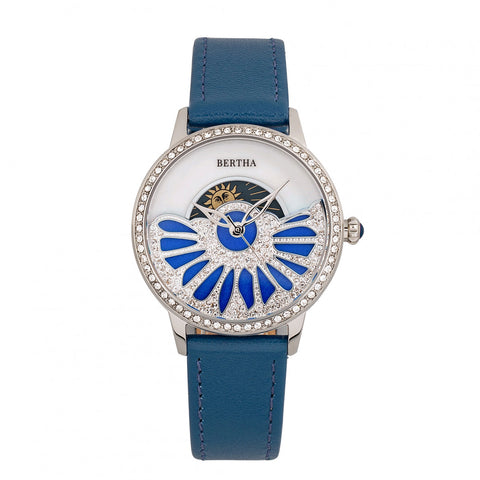 Bertha Adaline Mother-Of-Pearl Leather-Band Watch - Teal BTHBR8202