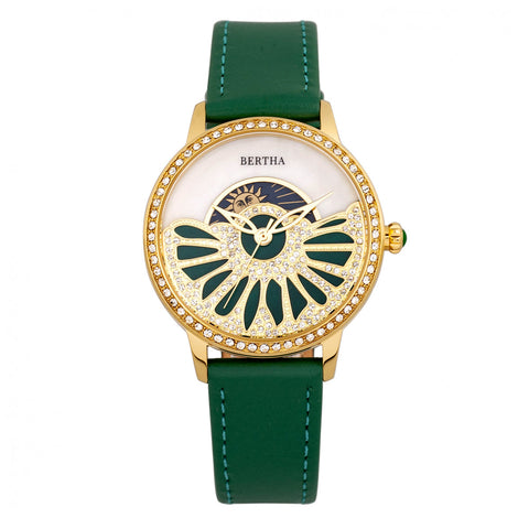 Bertha Adaline Mother-Of-Pearl Leather-Band Watch - Green BTHBR8204