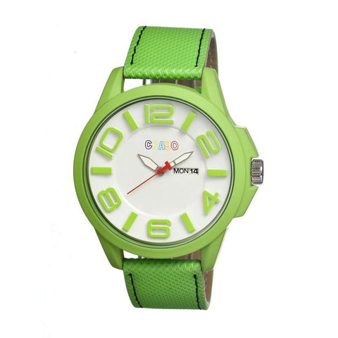 Crayo Horizon Leather-Band Men's Watch w/ Day/Date - Lime CRACR0104