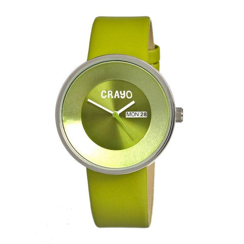 Crayo Button Leather-Band Unisex Watch w/ Day/Date - Green CRACR0203