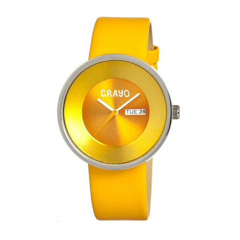 Crayo Button Leather-Band Unisex Watch w/ Day/Date - Yellow CRACR0204