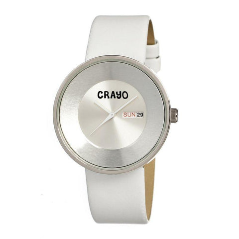 Crayo Button Leather-Band Unisex Watch w/ Day/Date - White CRACR0208