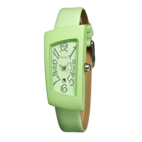 Crayo Angles Leather-Band Ladies Watch w/Date - Mint CRACR0407