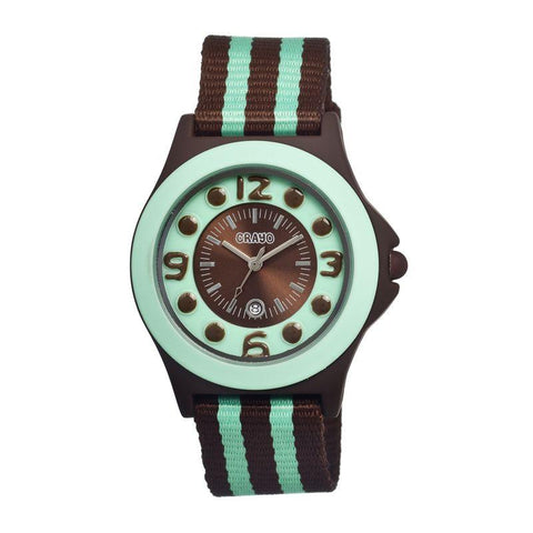 Crayo Carnival Nylon-Band Unisex Watch w/Date - Brown/Mint CRACR0707