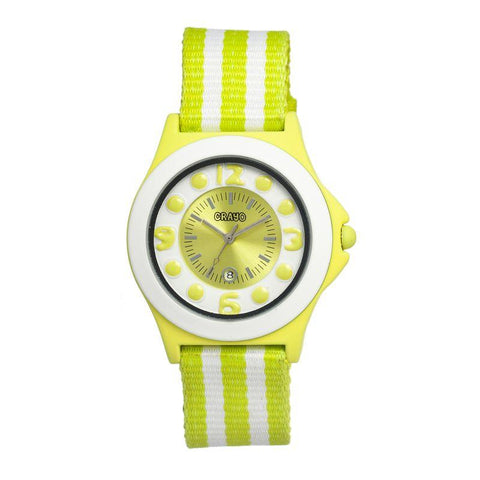 Crayo Carnival Nylon-Band Unisex Watch w/Date - Lime/White CRACR0706