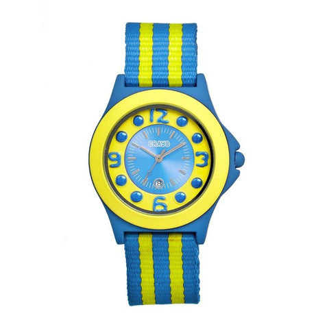 Crayo Carnival Nylon-Band Unisex Watch w/Date - Cerulean/Yellow CRACR0703