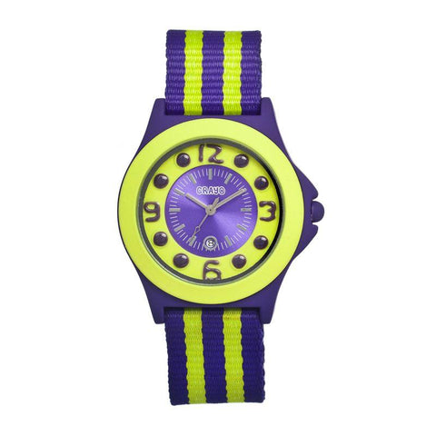 Crayo Carnival Nylon-Band Unisex Watch w/Date - Purple/Lime CRACR0702