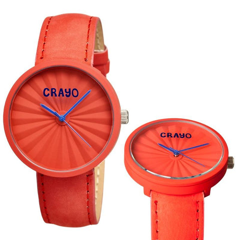 Crayo Pleats Leather-Band Unisex Watch - Red CRACR1505