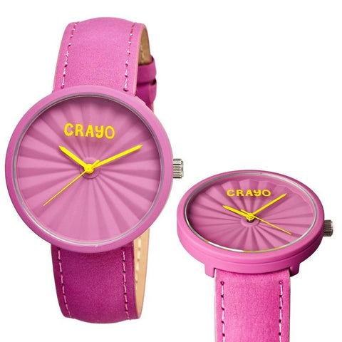 Crayo Pleats Leather-Band Unisex Watch - Fuchsia CRACR1508