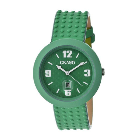 Crayo Jazz Leather-Band Unisex Watch w/ Date - Teal CRACR1806