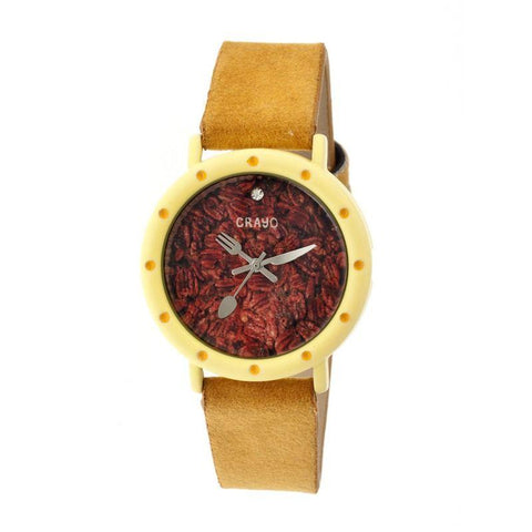 Crayo Slice Of Time Suede-Band Ladies Watch - Yellow/Goldenrod CRACR2105
