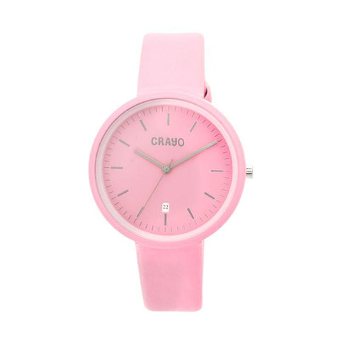 Crayo Easy Leather-Band Unisex Watch w/ Date - Pink CRACR2408