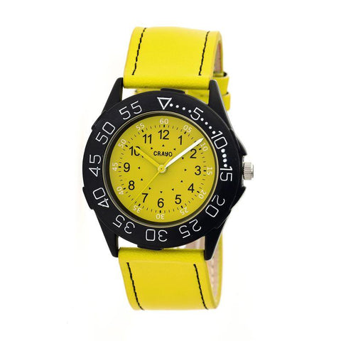 Crayo Fun Leather-Band Unisex Watch - Yellow CRACR2505