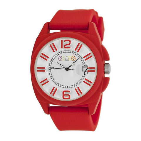 Crayo Sunset Unisex Watch w/Magnified Date - Red CRACR3304
