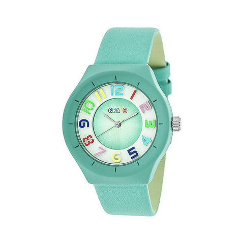 Crayo Atomic Leather-Band Watch - Turquoise CRACR3505