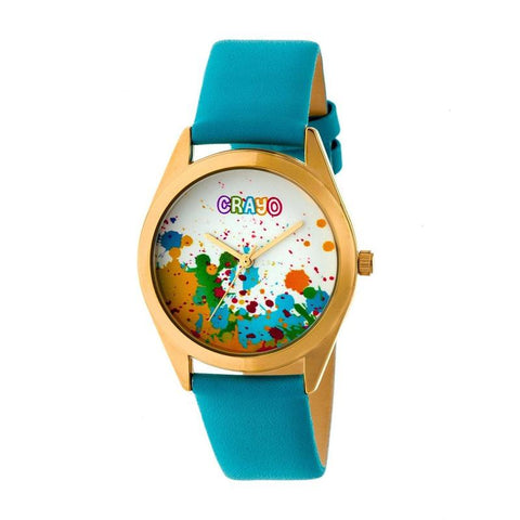 Crayo Graffiti Leather-Band Watch - Gold/Powder Blue CRACR4004
