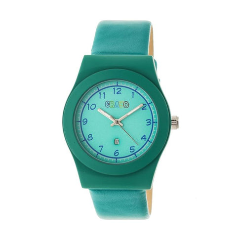 Crayo Dazzle Leather-Band Watch w/Date - Teal CRACR4102