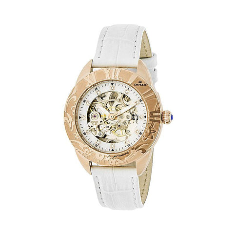 Empress Godiva Automatic MOP Leather-Band Watch - Rose Gold/White EMPEM1106