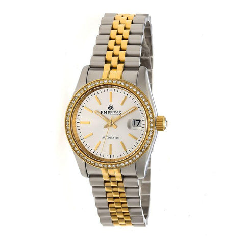 Empress Constance Automatic Bracelet Watch w/Date - Gold/White EMPEM1505