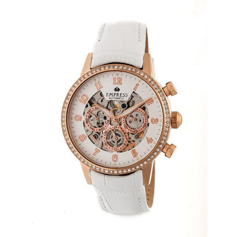 Empress Beatrice Automatic Skeleton Dial Leather-Band Watch w/Day/Date - Rose Gold/White EMPEM2005