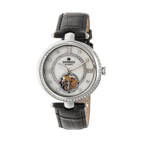Empress Stella Automatic Semi-Skeleton Dial Leather-Band Watch - Black/White EMPEM2101