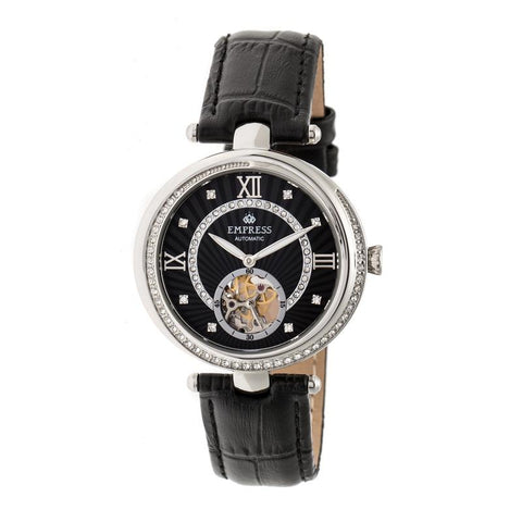 Empress Stella Automatic Semi-Skeleton Dial Leather-Band Watch - Black EMPEM2102